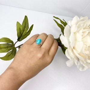Vintage Smooth Oval Amazonite Silver Ring